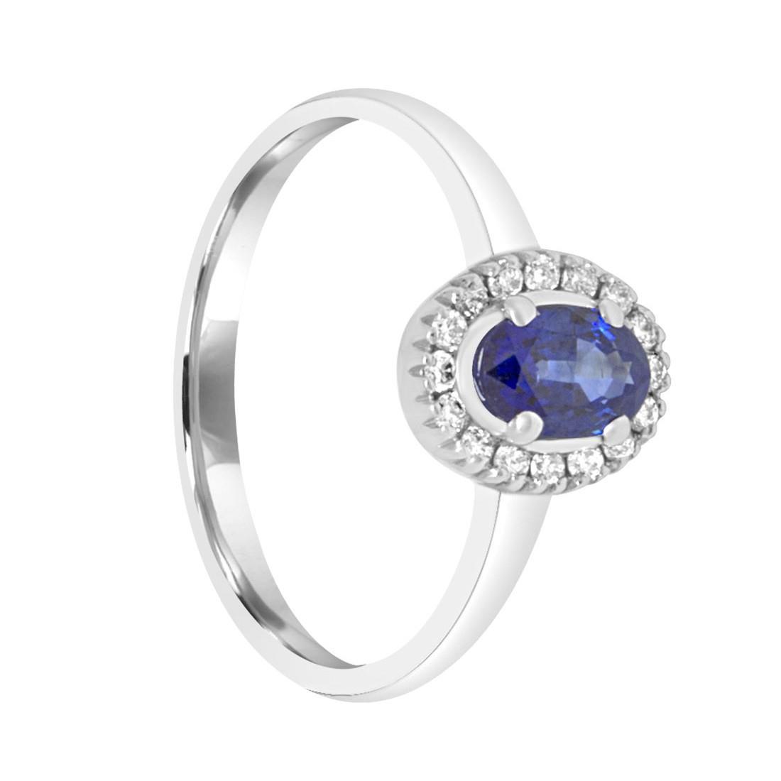 Anello in oro bianco con diamanti e zaffiro ct. 0,58 - ALFIERI ST JOHN