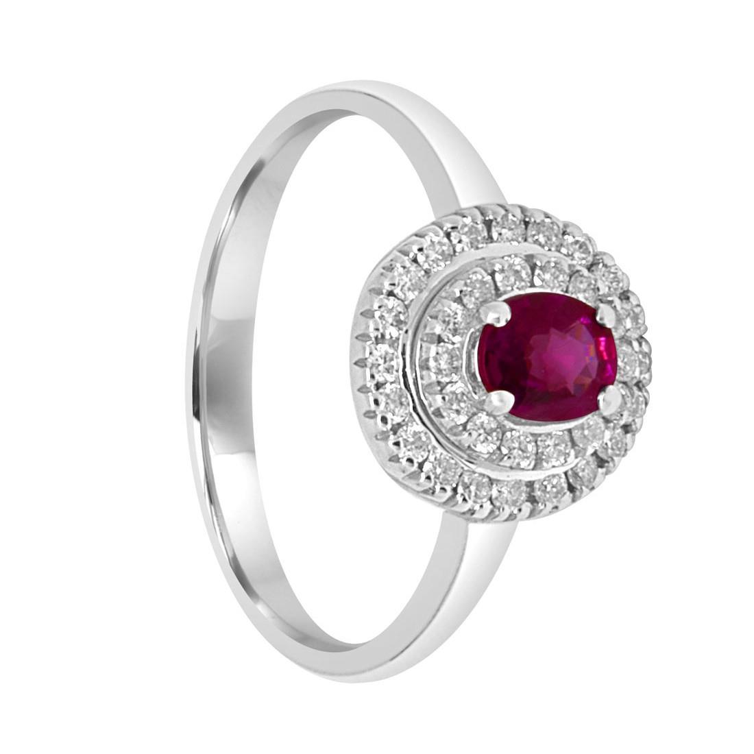 Anello in oro bianco con diamanti e rubini ct. 0,43 - ALFIERI ST JOHN