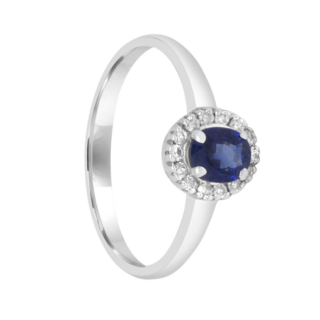 Anello in oro bianco con diamanti e zaffiri mis 13.5 - ALFIERI ST JOHN