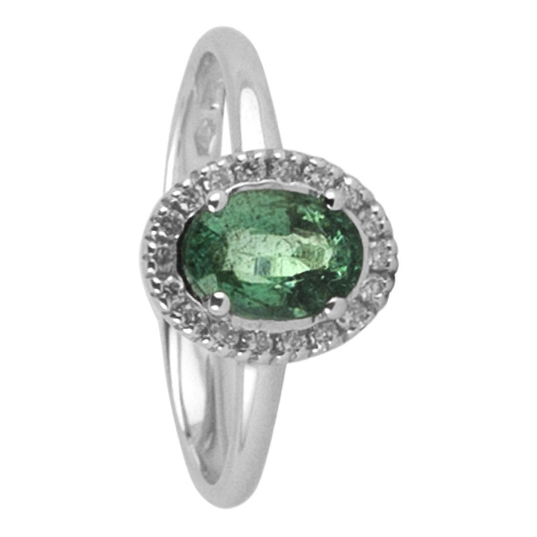 Anello in oro bianco con smeraldo ct. 0,75 - ALFIERI & ST. JOHN