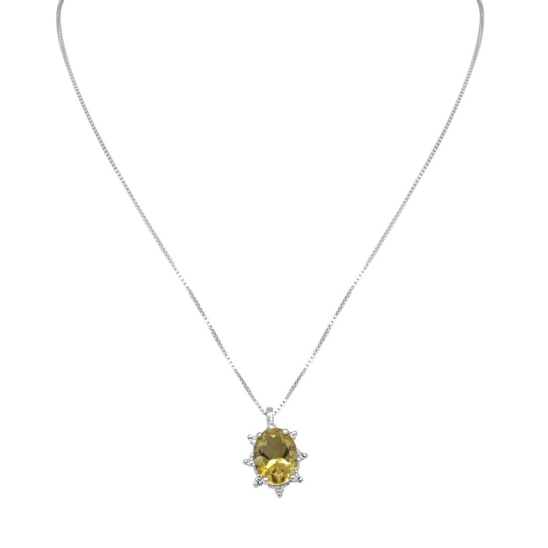 Collier in oro bianco con diamanti e pietra semipreziosa gialla - ALFIERI & ST. JOHN