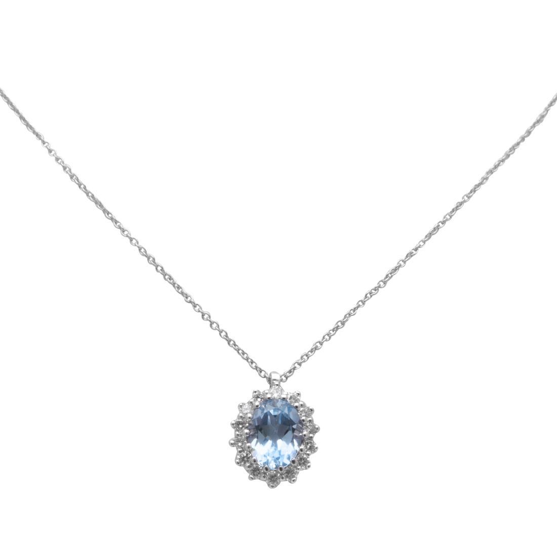 Collana con pendente in oro bianco e diamanti ct 0.28 - ALFIERI & ST. JOHN