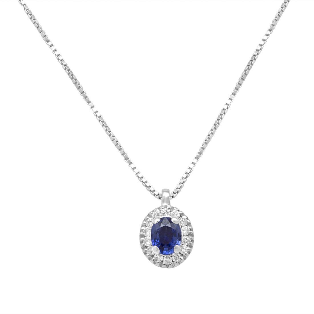 Collana in oro bianco con diamanti e zaffiro ct. 0,22 - ALFIERI ST JOHN