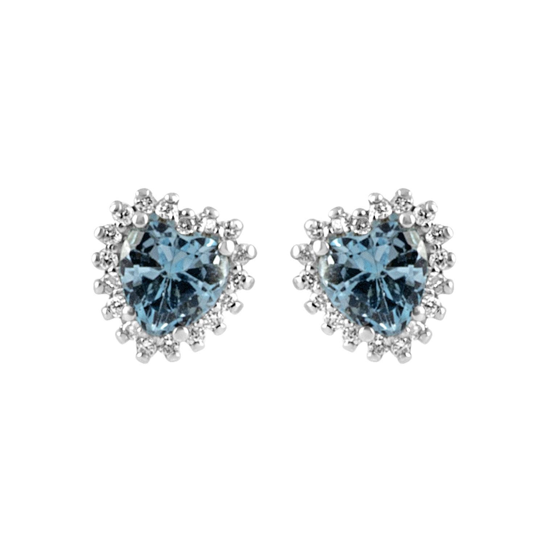 Orecchini in oro bianco con diamanti ct 0.18 e pietre semipreziose  - ALFIERI & ST. JOHN