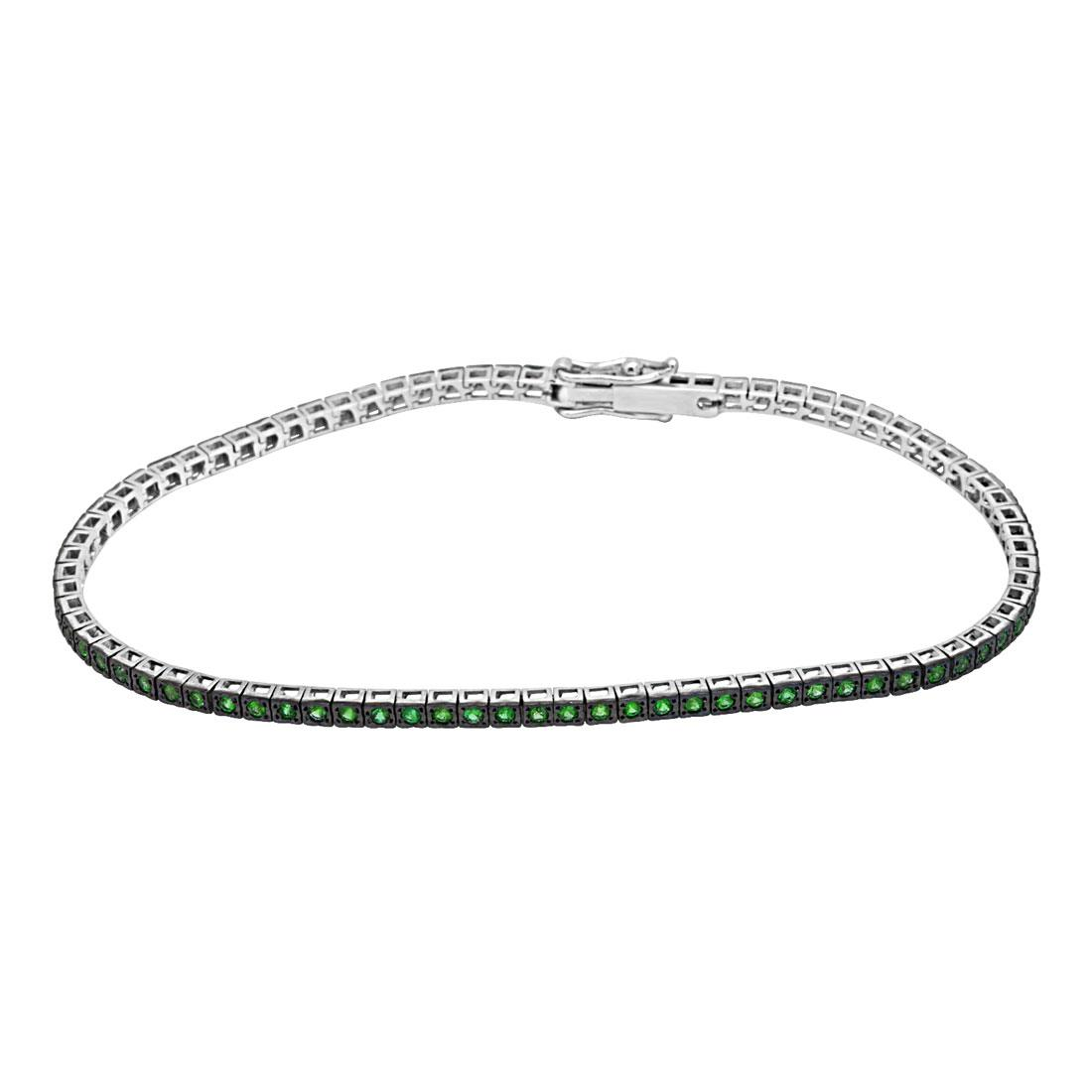 Bracciale tennis in oro bianco con smeraldi ct 0.65 - ALFIERI & ST. JOHN