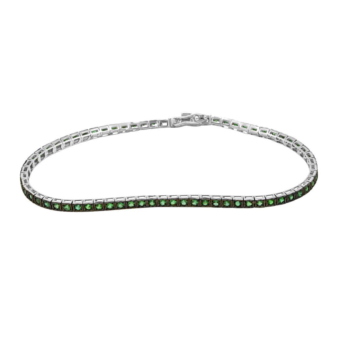 Bracciale tennis in oro bianco con smeraldi ct 1.20 - ALFIERI ST JOHN