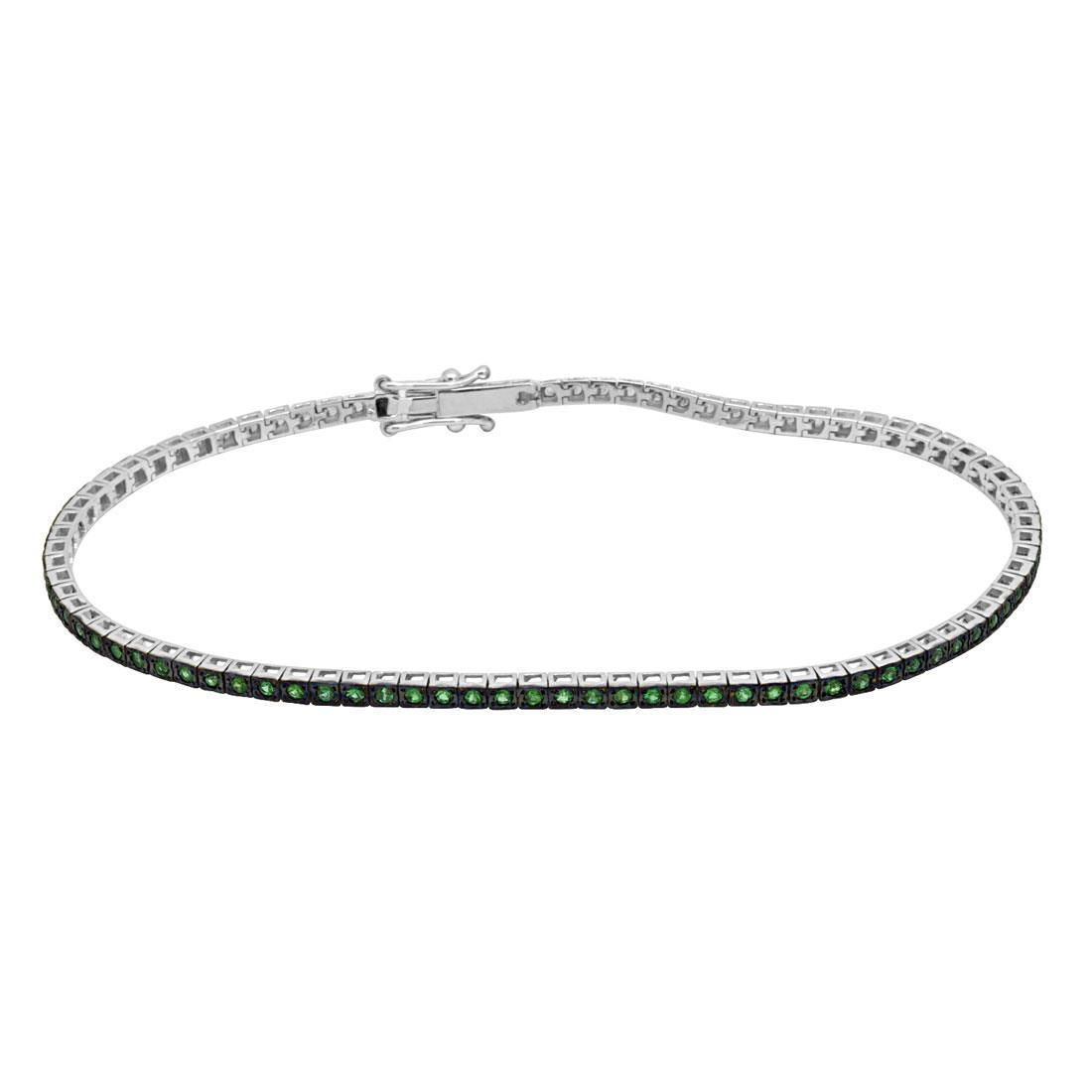 l'ultimo 29543 b3624 Bracciale tennis in oro bianco con smeraldi ct 0.75