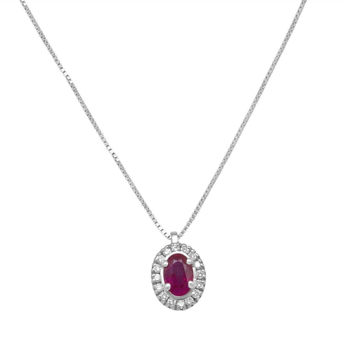 Collana in oro bianco con diamanti e rubino ct. 0,54 - ALFIERI ST JOHN