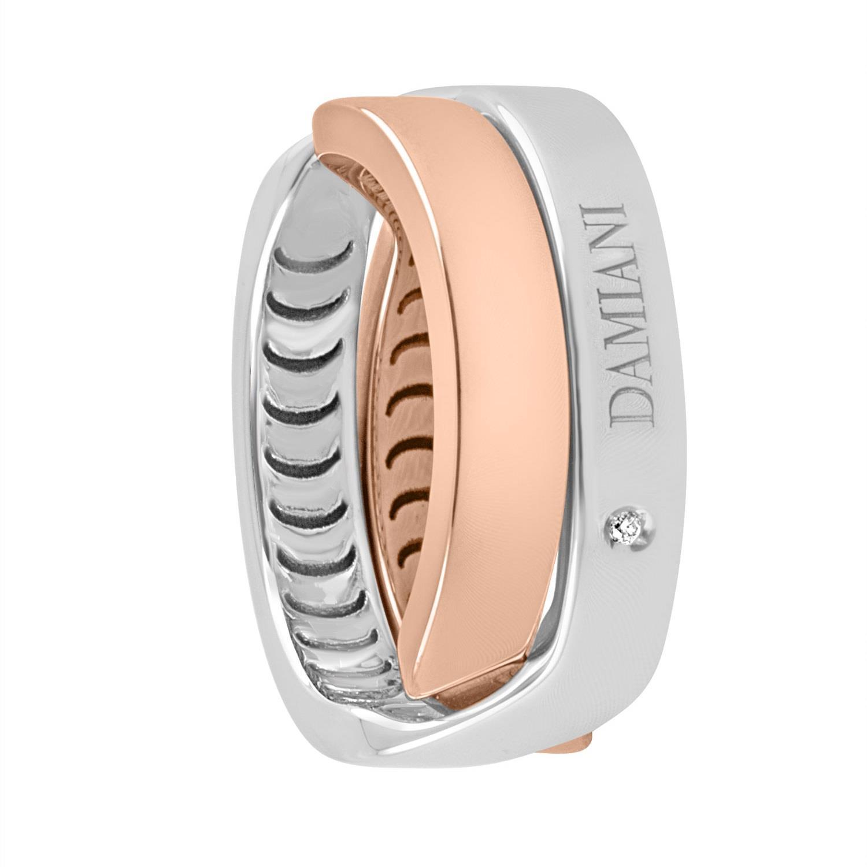 Anello design in oro bianco e oro rosa con diamanti ct 0.006 - DAMIANI