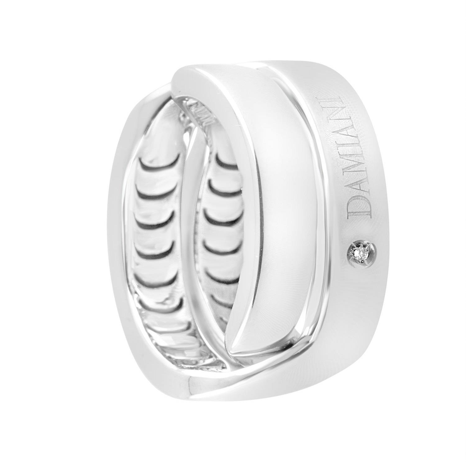 Anello design in oro bianco con diamante ct 0.006 mis 16 - DAMIANI