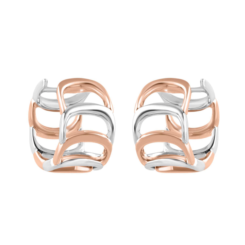Orecchini design in oro bianco e oro rosa con diamanti ct 0.14 - DAMIANI