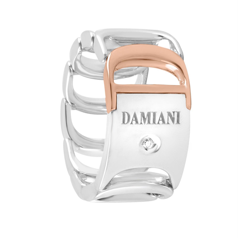 Anello design in oro bianco e oro rosa con diamanti ct 0.010  mis 14 - DAMIANI