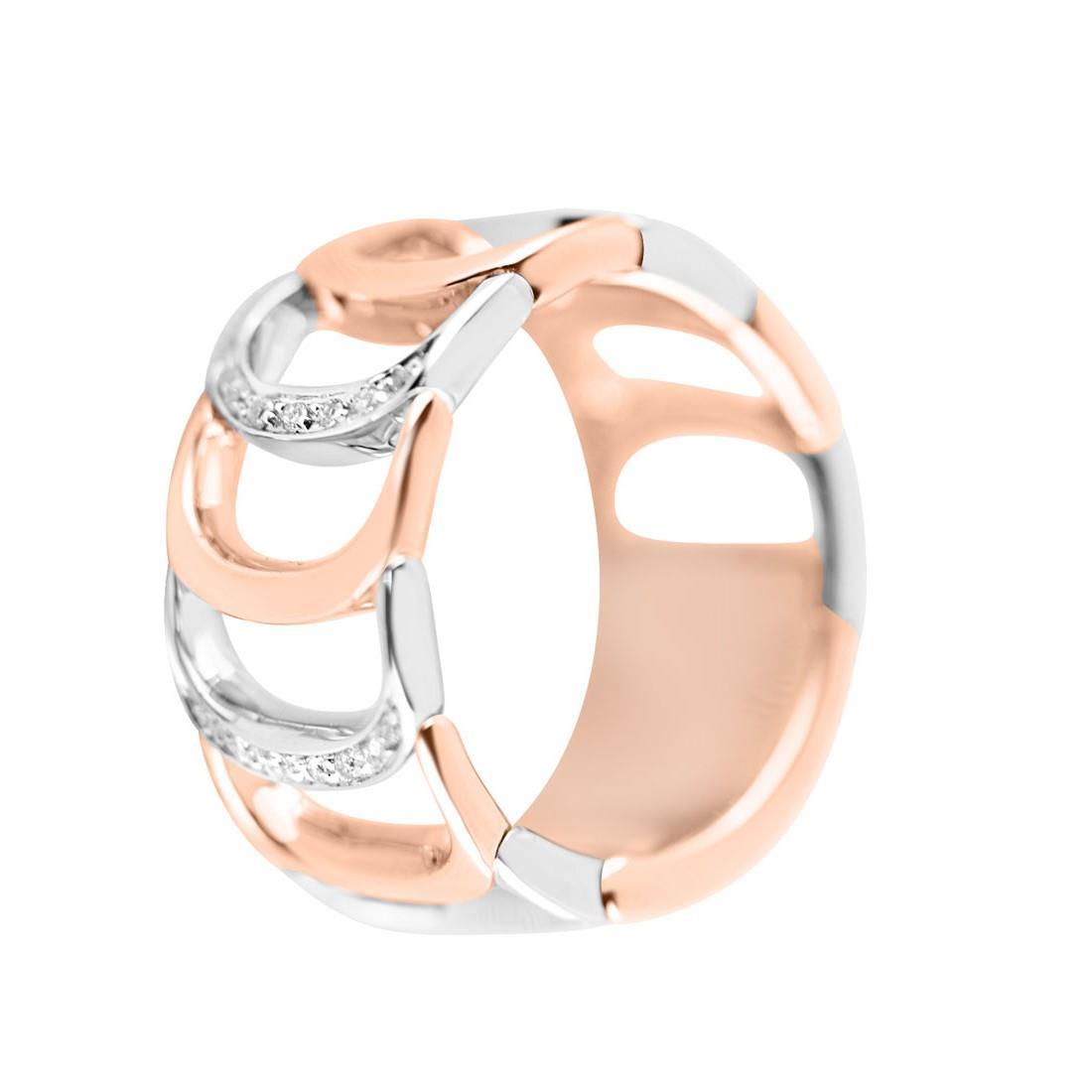 Anello in oro bianco e oro rosa con diamanti - DAMIANI