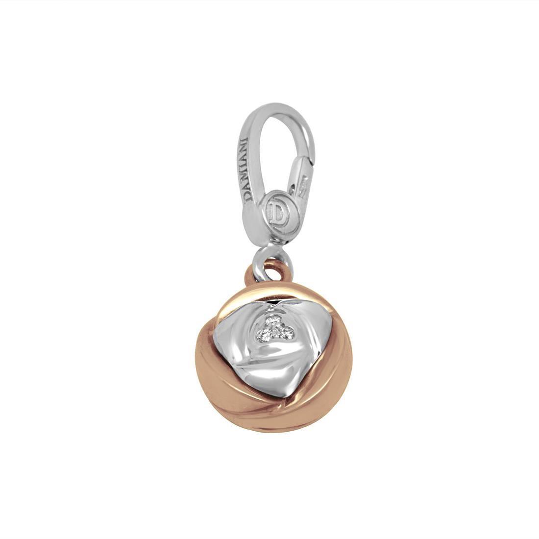 Ciondolo in oro bianco e rosa con diamante - DAMIANI