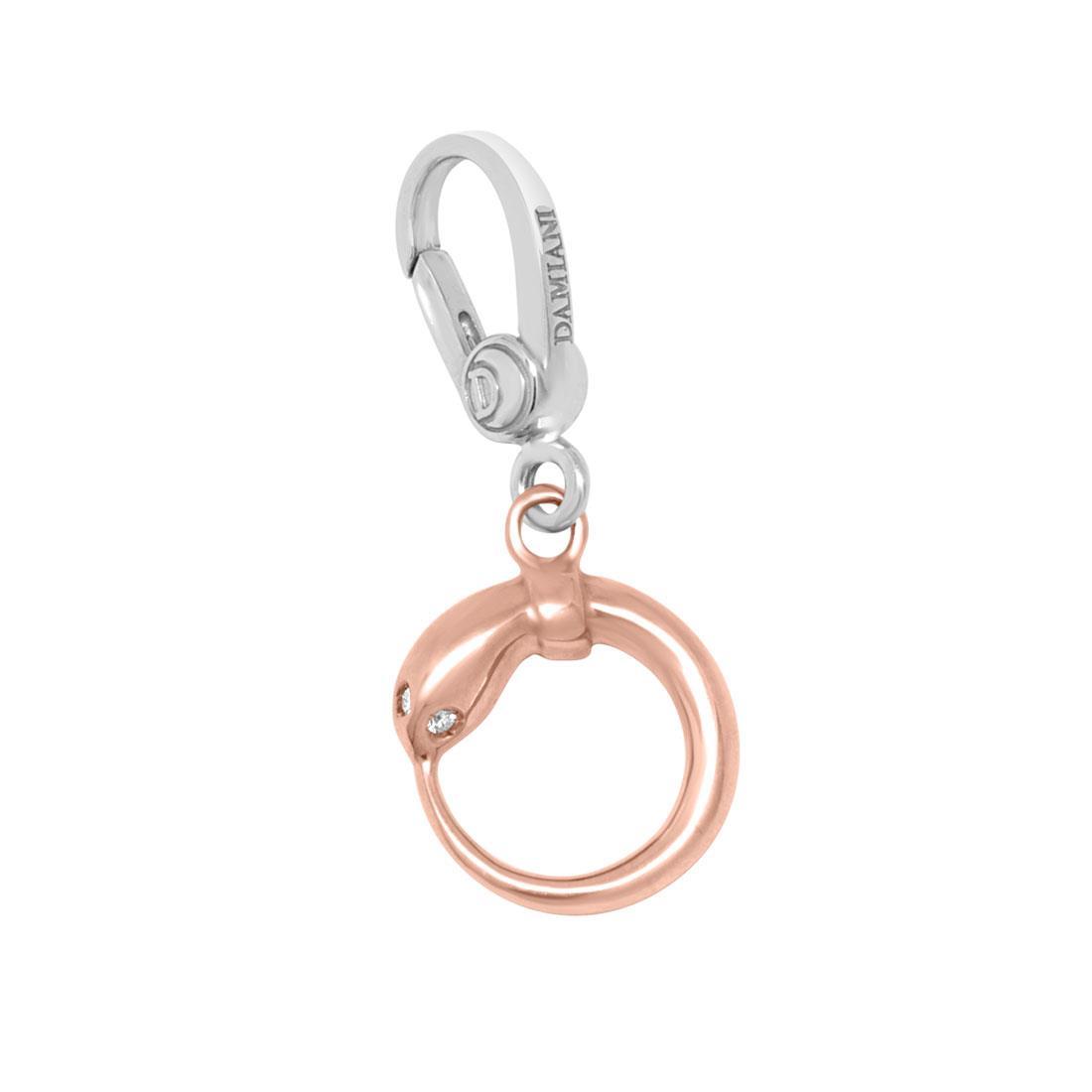 Ciondolo in oro bianco e oro rosa con diamante ct 0.01 - DAMIANI