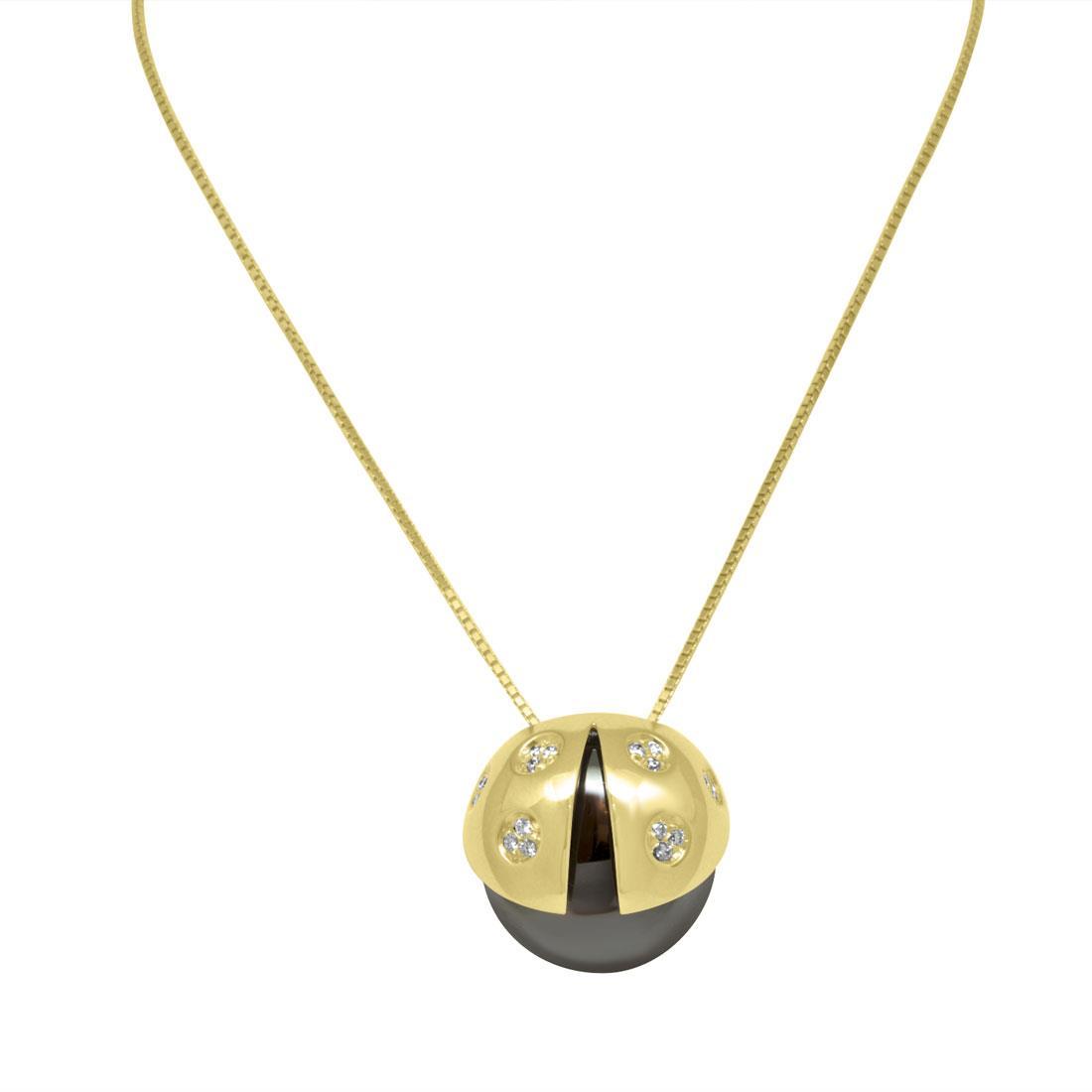 Collana con pendente coccinella media in oro nero e rosa con diamanti ct 0.14 - SALVINI
