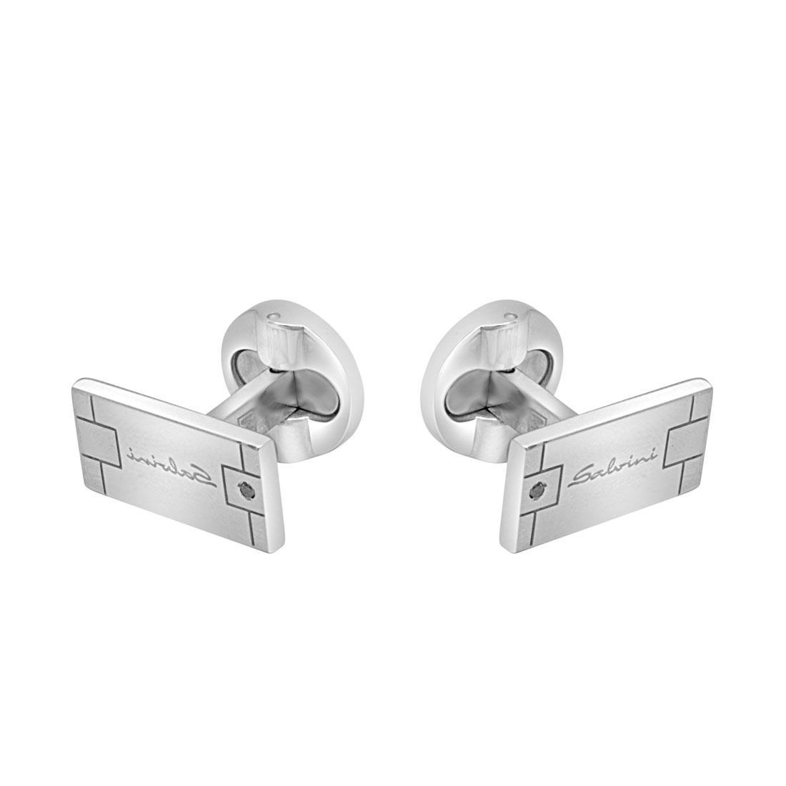 Gemelli in argento con diamante ct 0.02, misura 9mmx1,5 cm - SALVINI