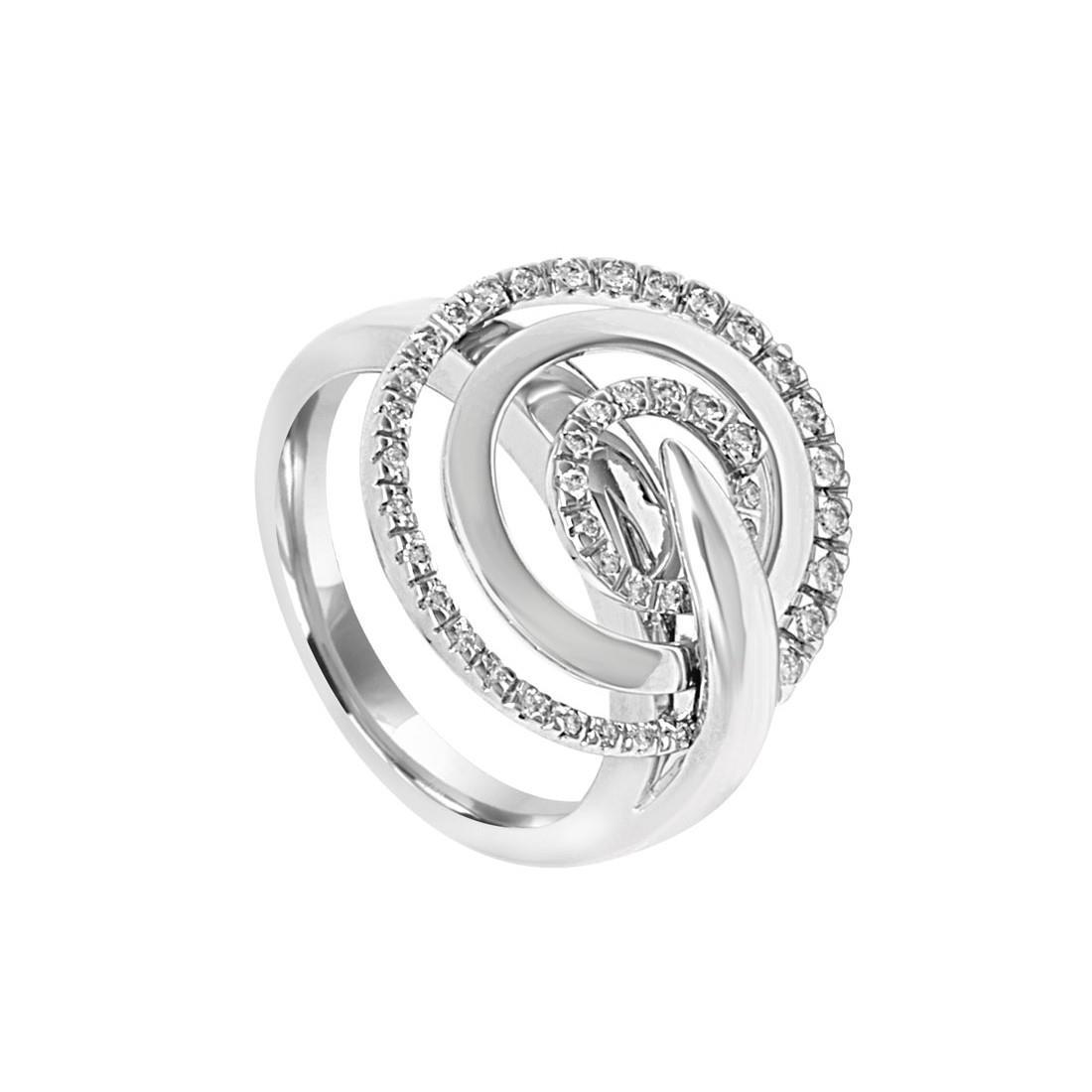 Anello in oro bianco con diamanti ct 0.28, misura 15 - SALVINI