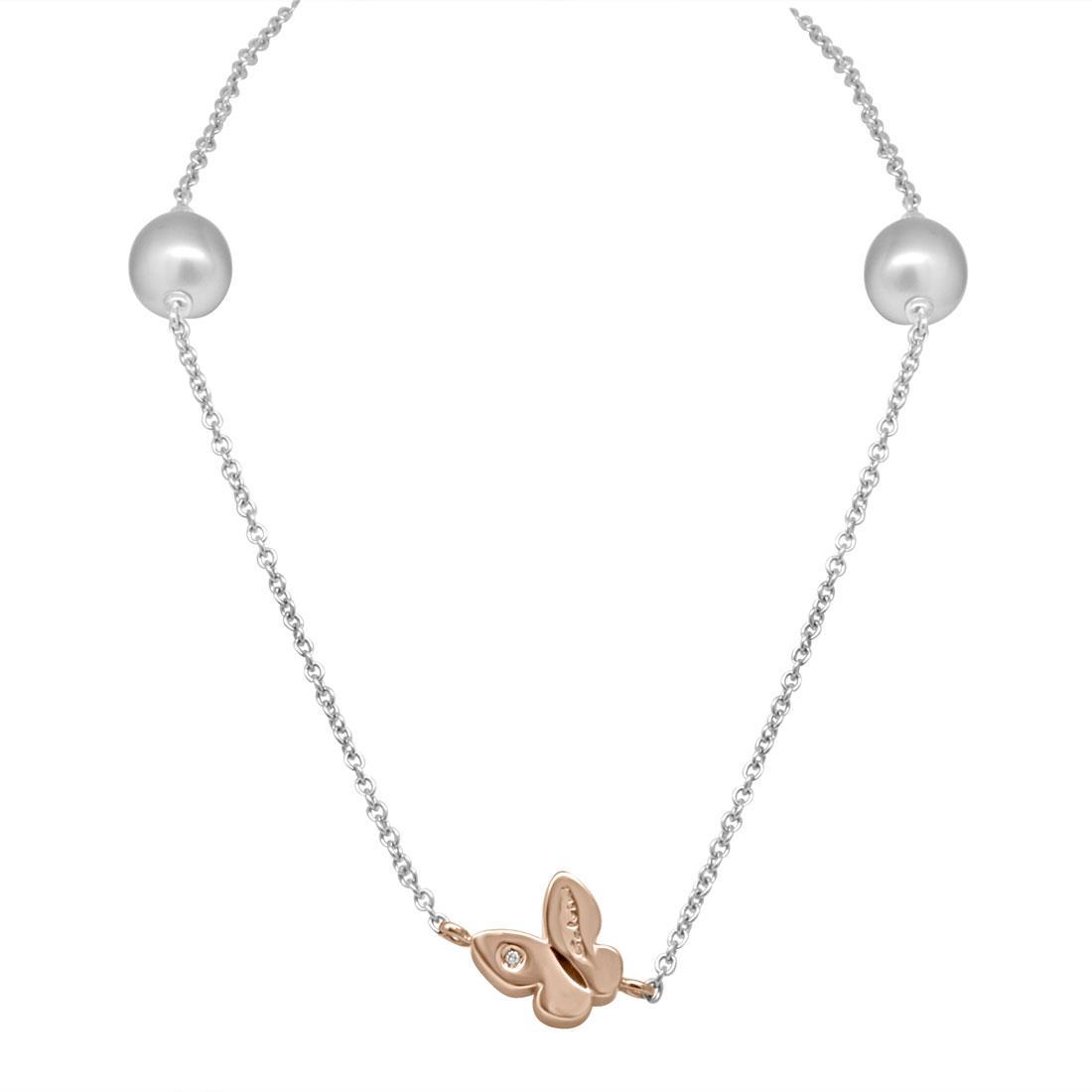 Collana in oro bianco con perle e farfalla in oro rosa con diamante ct 0.01 - SALVINI