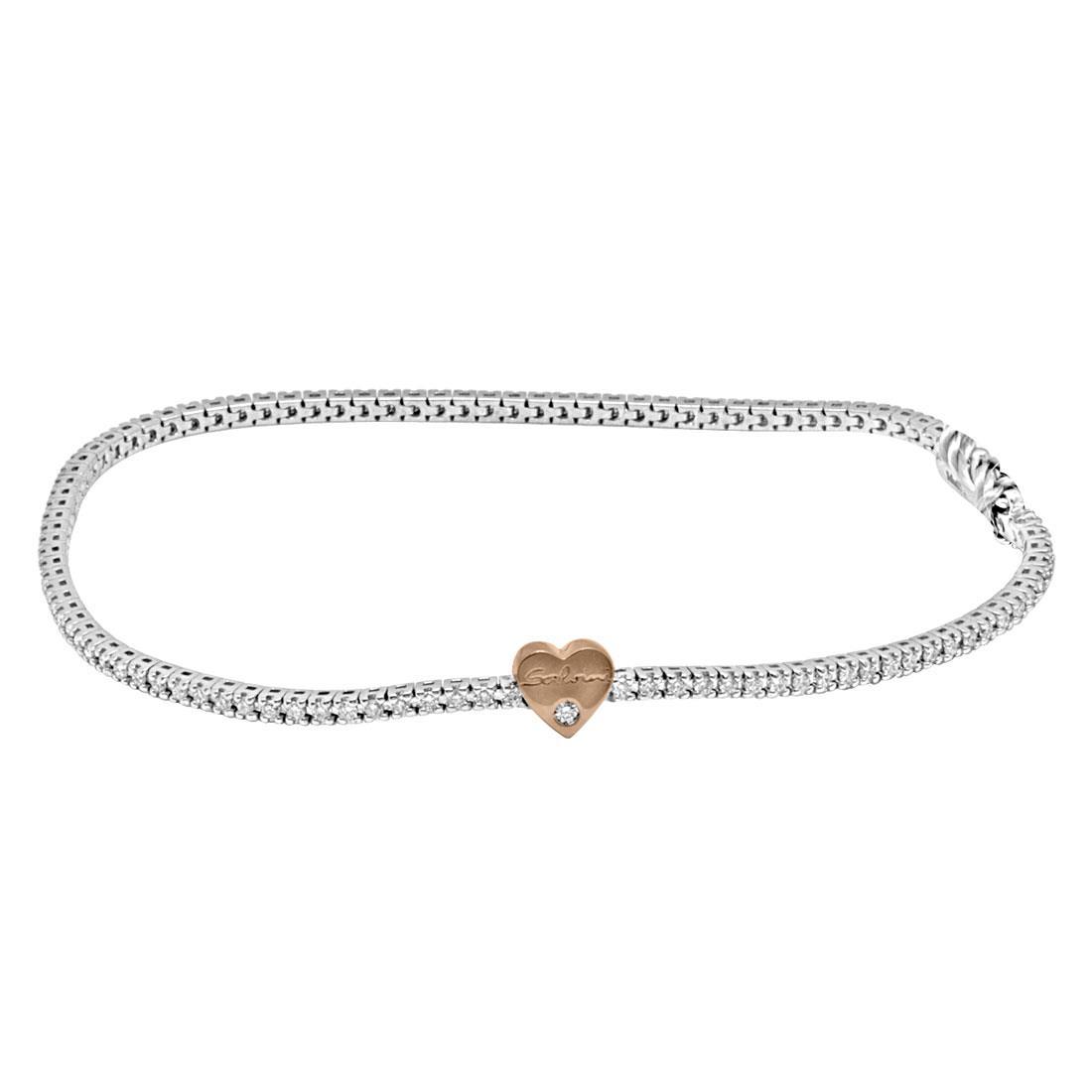 Bracciale in oro bianco con diamanti ct 0.71 e cuore in oro giallo - SALVINI