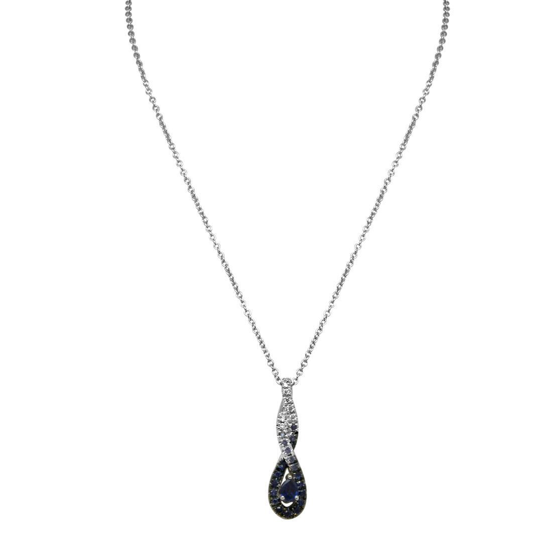 Collana in oro bianco con pendente diamanti ct 0.05 e zaffiri ct 0.39 - SALVINI