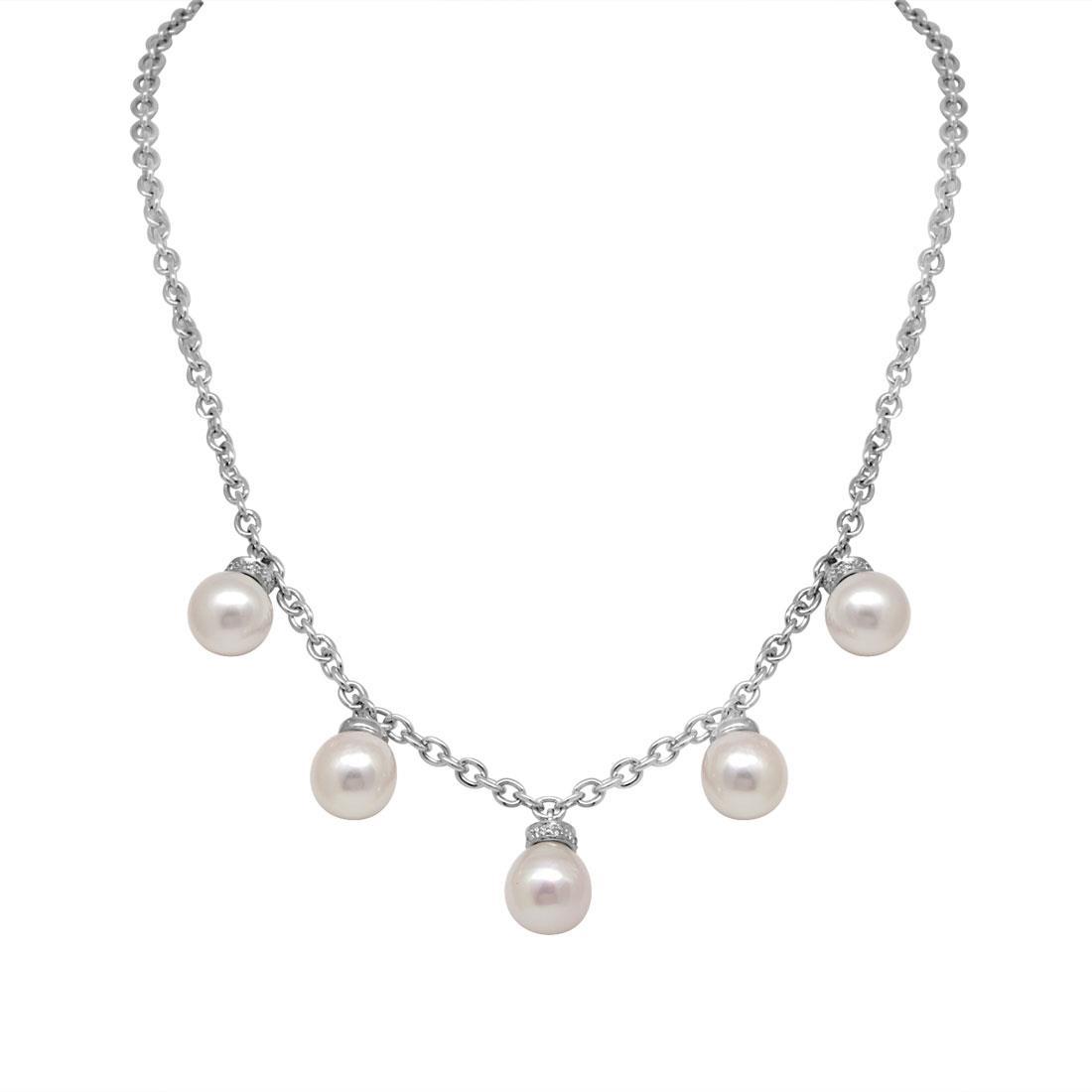 Collana in oro bianco con diamanti e perle - SALVINI