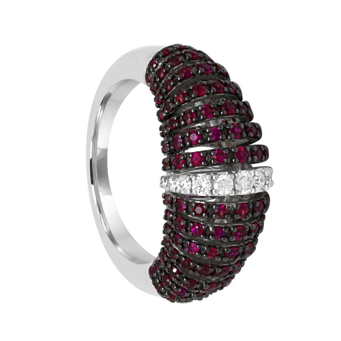Anello in oro bianco con diamanti ct 0.18 e rubini - SALVINI
