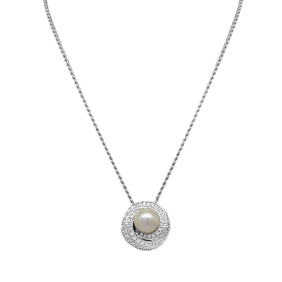 Collana in oro bianco con diamanti ct 1.21 e perla, lunghezza 42cm - SALVINI
