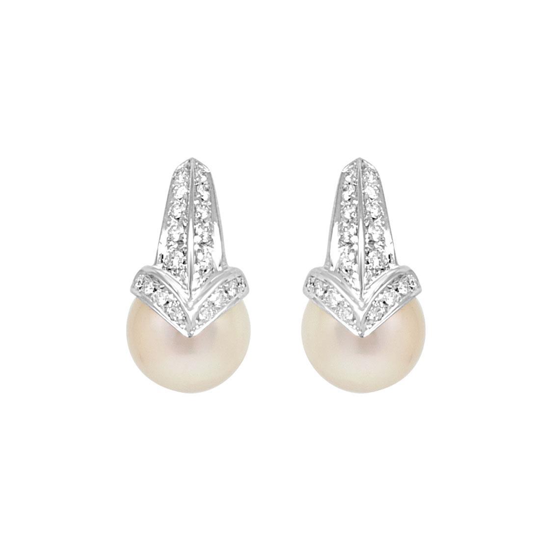 Orecchini con diamanti e perle - SALVINI