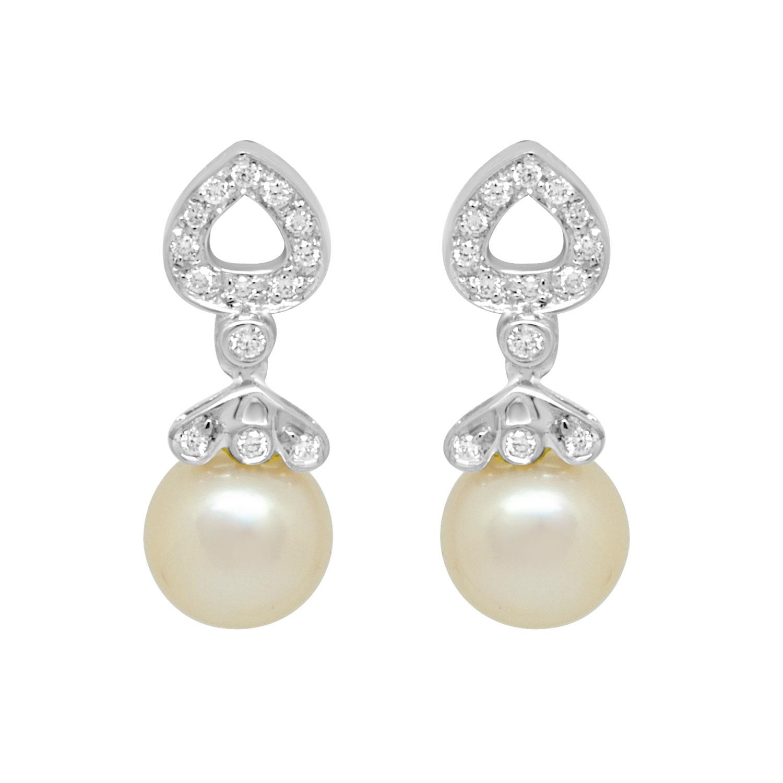 Orecchini in oro bianco con diamanti e perle - SALVINI