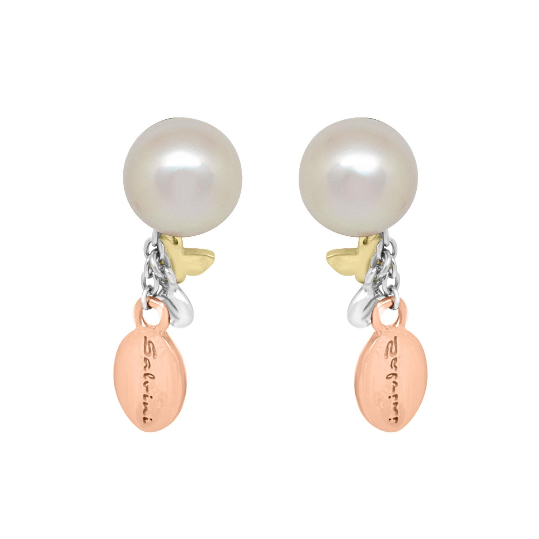 Orecchini pendenti in oro bianco, rosa e giallo con perla - SALVINI