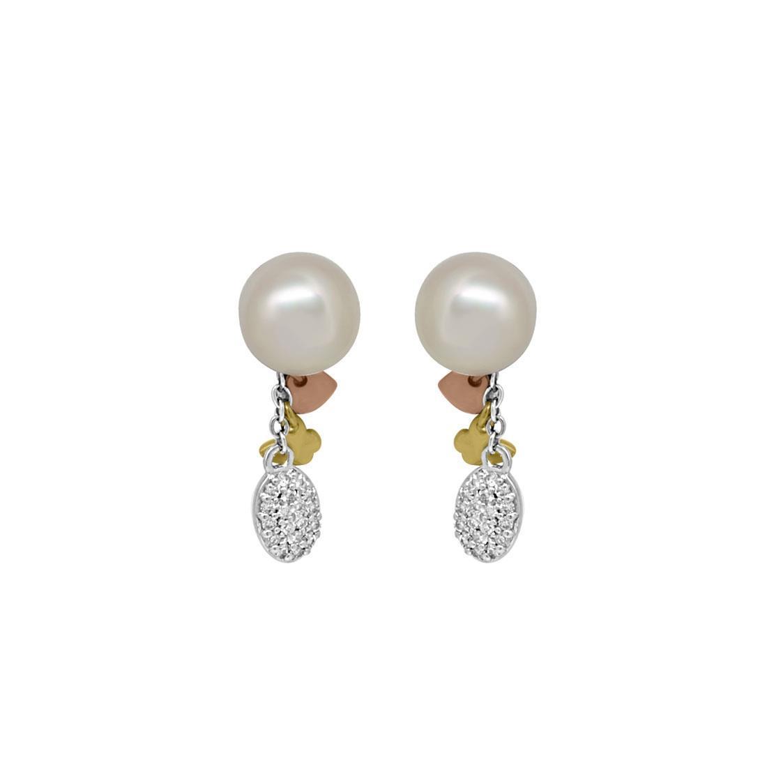 Orecchini in oro bianco, giallo e rosa con diamanti e perle - SALVINI