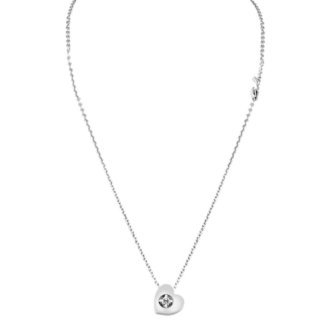 Collana in oro bianco con diamanti ct 0.07, lunghezza 42cm - SALVINI