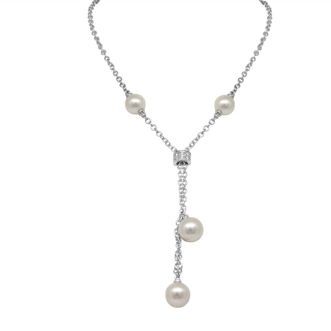 Collier in oro bianco con perle e diamanti - SALVINI