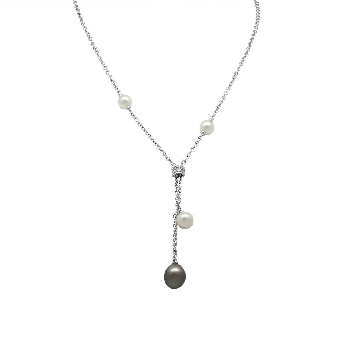 Collana in oro bianco con diamanti ct 0.07 e perle, lunghezza 44cm + 4cm - SALVINI