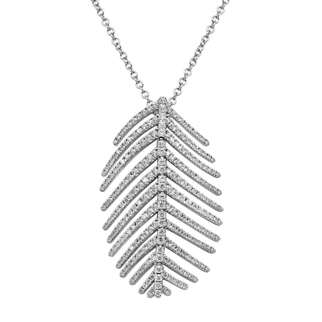 Collier in oro bianco pendente design piuma - SALVINI