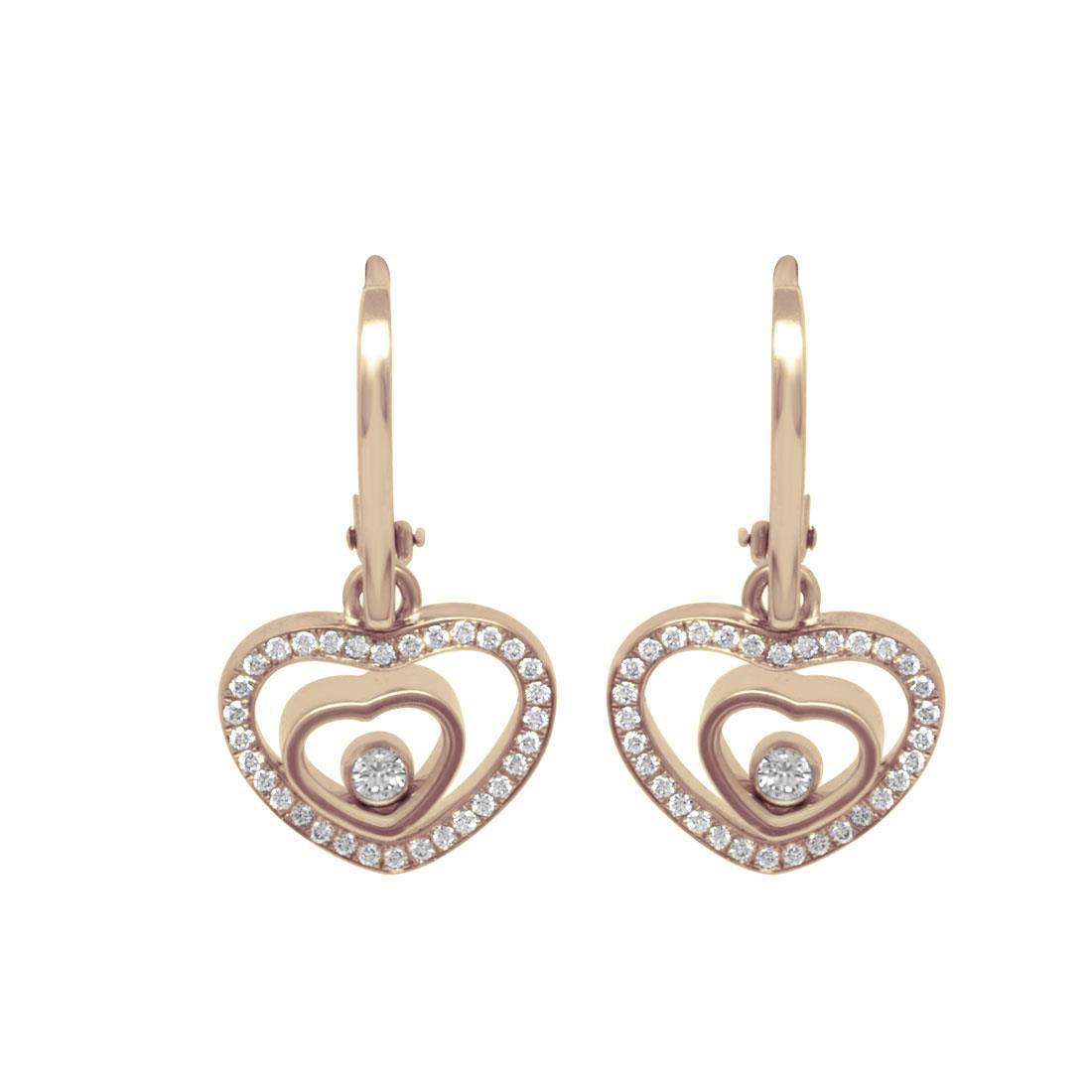 Orecchini pendenti Chopard in oro rosa e diamanti - CHOPARD