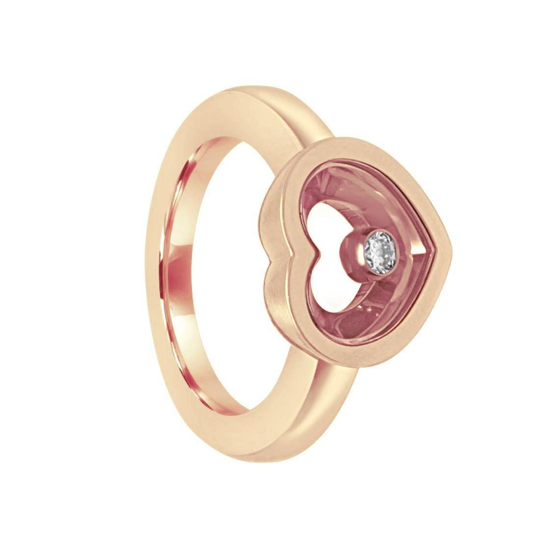 Anello in oro rosa con diamante ct 0.10, misura 14 - CHOPARD