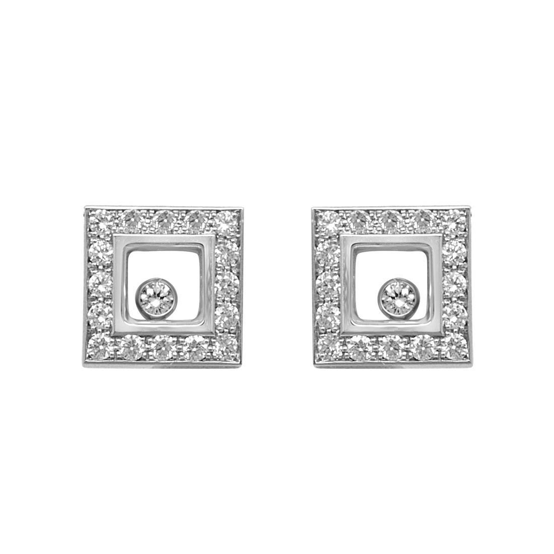 Orecchini a lobo in oro bianco con diamanti - CHOPARD