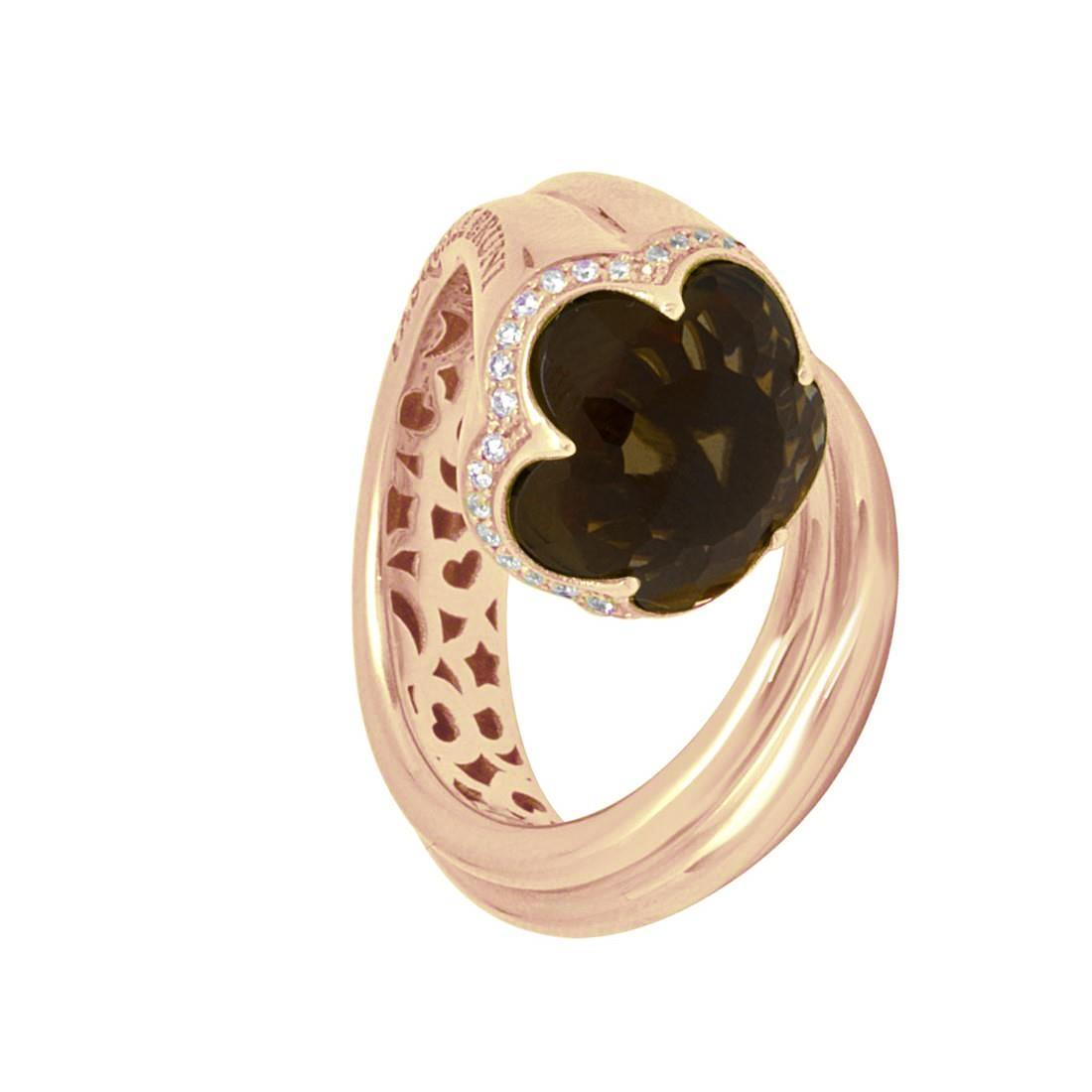 Anello in oro rosso con diamante e pietra semi preziosa - PASQUALE BRUNI