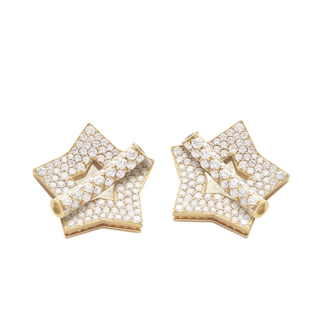 Orecchini in oro giallo con diamanti design stella - PASQUALE BRUNI