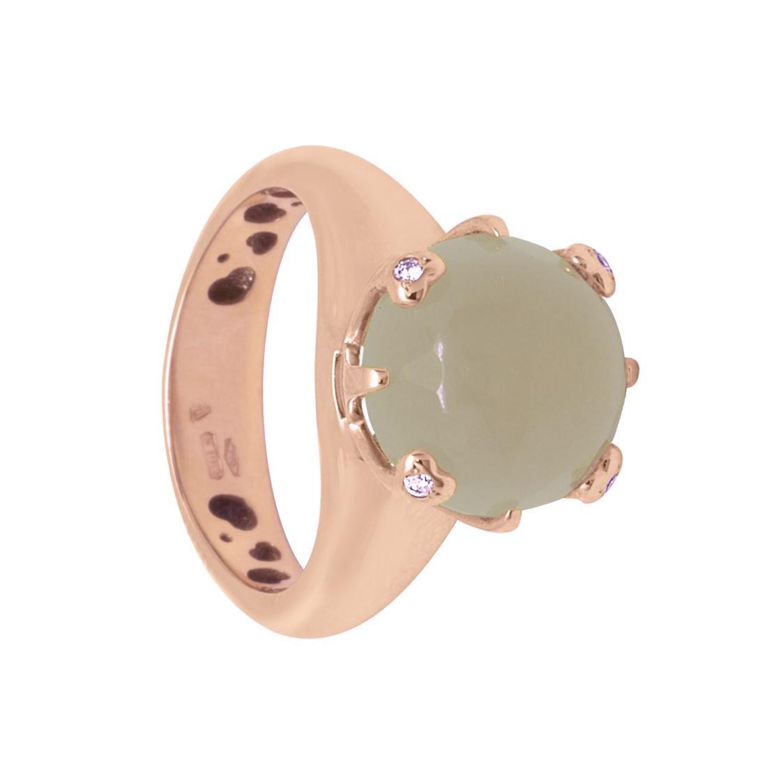 Anello in oro rosso con diamanti e pietra semi preziosa - PASQUALE BRUNI