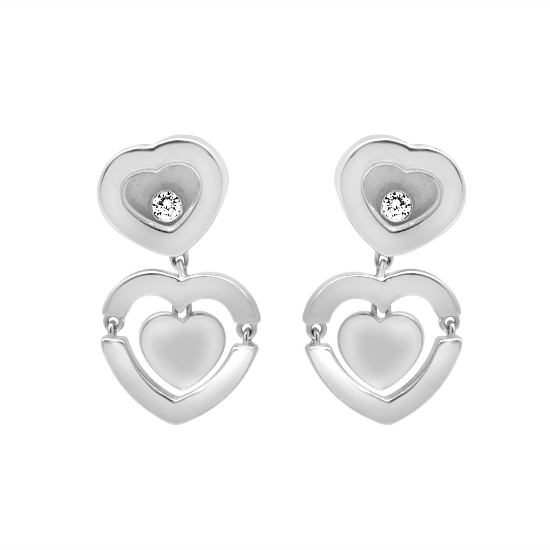 Orecchini cuore in oro bianco con diamanti ct. 0,11  - CHOPARD