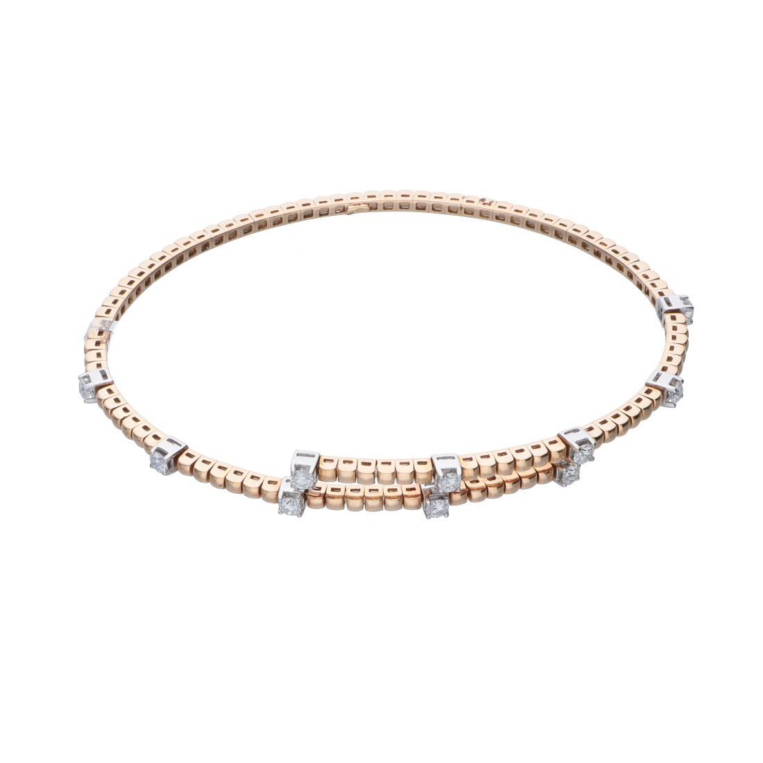 Bracciale in oro rosa e bianco con diamanti - ALFIERI ST JOHN