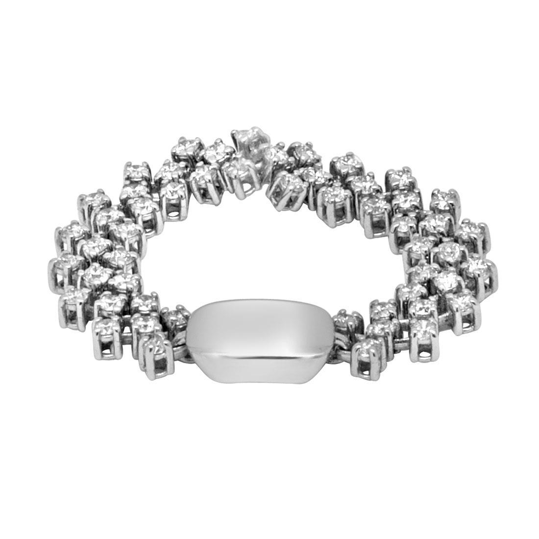 Anello cashmere in oro bianco con diamanti mis 17 - ALFIERI ST JOHN