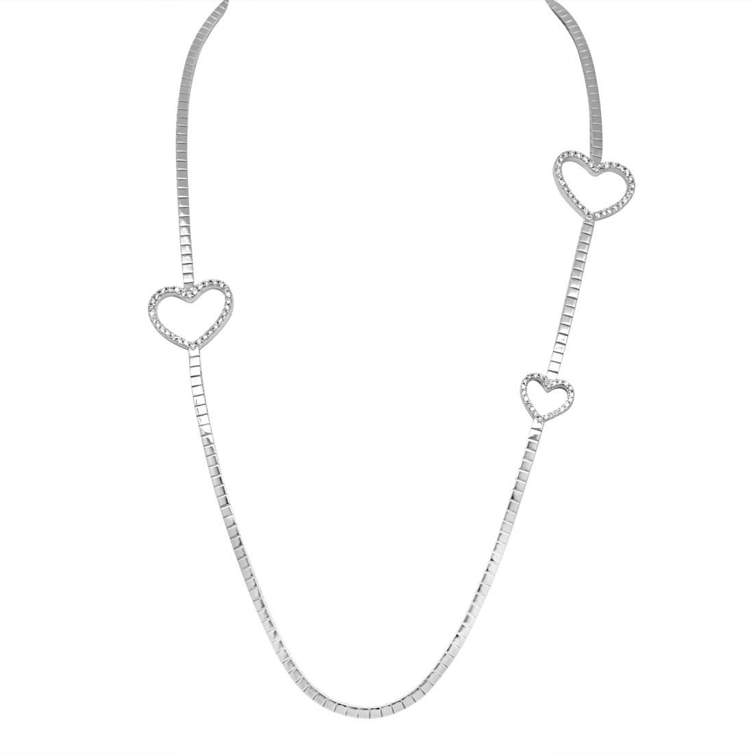 Collana in oro bianco con diamanti ct 0.70, lunghezza 65cm - ALFIERI ST JOHN