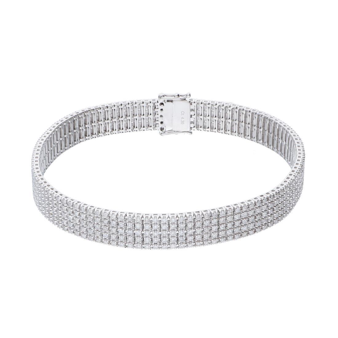 Bracciale Tennis unito 5 file in oro bianco con diamanti - ALFIERI & ST. JOHN