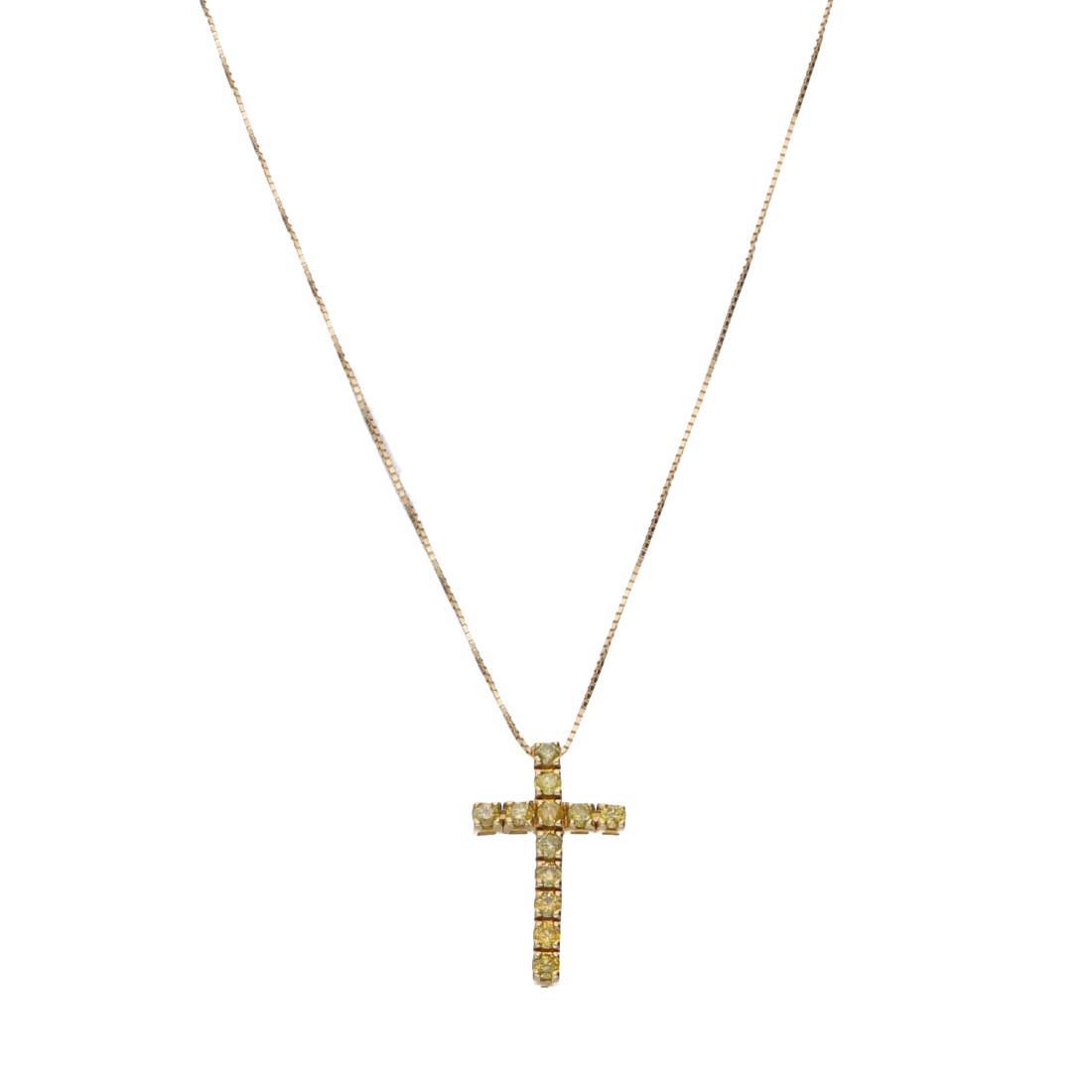 Collana croce in oro giallo con diamanti naturali gialli trattati - ALFIERI & ST. JOHN