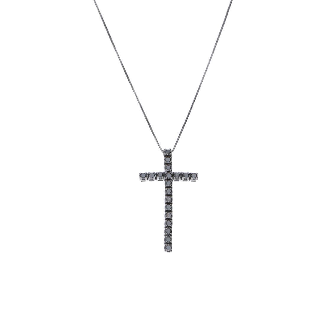 Collier con pendente croce in oro con diamanti neri - ALFIERI ST JOHN