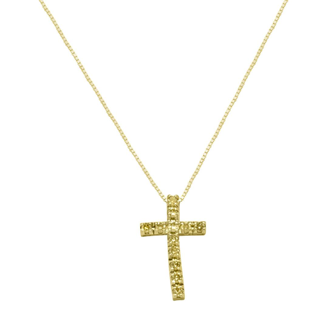 Collana croce (2.4cm) in oro con diamanti gialli ct 0.20, lunghezza 42cm - ALFIERI & ST. JOHN